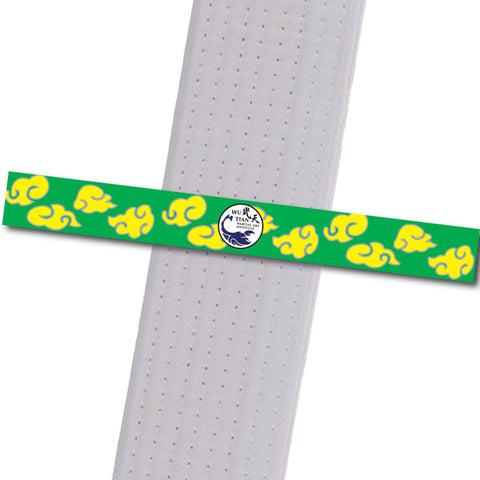WuTian MA - Yellow-Clouds-Green-Stripe Custom Belt Stripes - BeltStripes.com : The #1 Source for Martial Arts Belt Tape