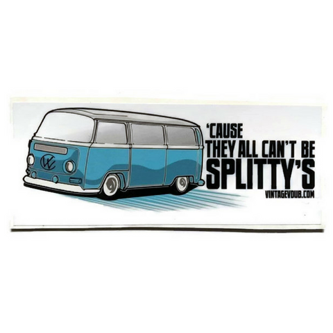"""Cause They All Can't Be Splittys"" Blue Vw Bus Stickers, - Aircooled - Vintage Vdub - Vw"