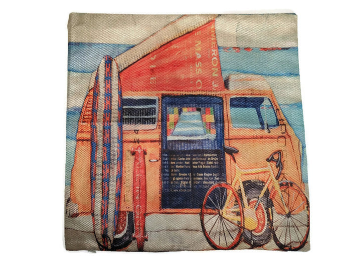 Surf Bus Pillow Case, - Aircooled VW - Vintage Vdub