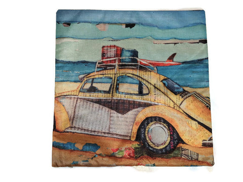Beach Bug Pillow Case, - Aircooled - Vintage Vdub - Vw