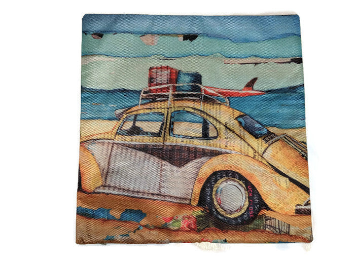 Beach Bug Pillow Case, - Aircooled VW - Vintage Vdub