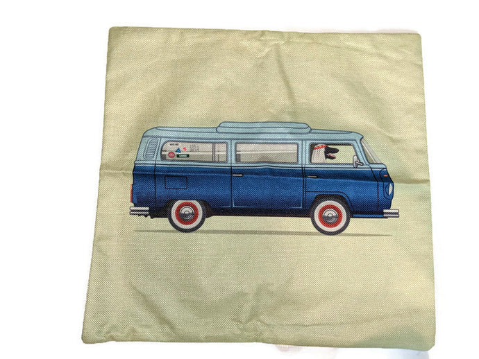 Bay Window Bus Pillow Case, - Aircooled VW - Vintage Vdub