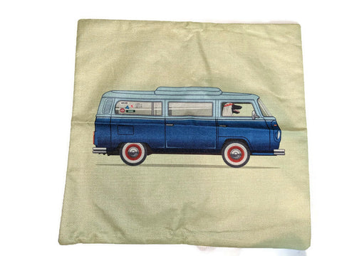 Bay Window Bus Pillow Case, - Aircooled - Vintage Vdub - Vw