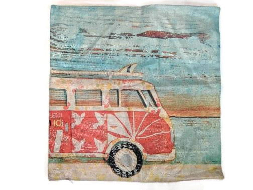 Red Surf Bus Pillow Case, - Aircooled VW - Vintage Vdub