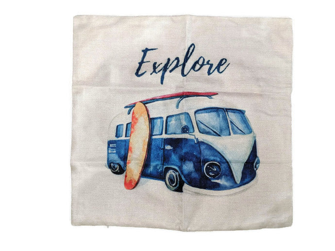 Explore Bus Pillow Case, - Aircooled VW - Vintage Vdub
