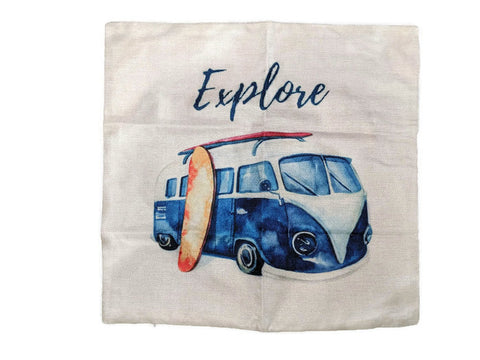 Explore Bus Pillow Case, - Aircooled - Vintage Vdub - Vw
