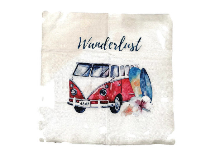 Wanderlust Bus Pillow Case - Vintage Vdub