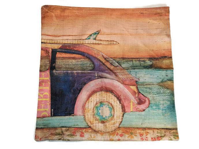 Surf Bug Pillow Case, - Aircooled VW - Vintage Vdub