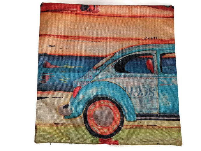 Beach Buggie Pillow Case, - Aircooled VW - Vintage Vdub