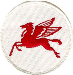 Mobil Oil Pegasus Embroidered Patch, - Aircooled VW - Vintage Vdub