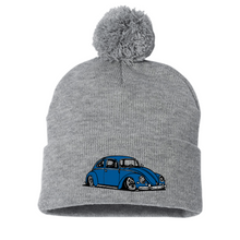 Load image into Gallery viewer, Blue Bug Pom Beanie - Vintage Vdub