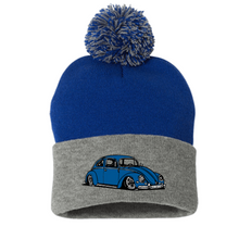 Load image into Gallery viewer, Blue Bug Pom Beanie, - Aircooled VW - Vintage Vdub