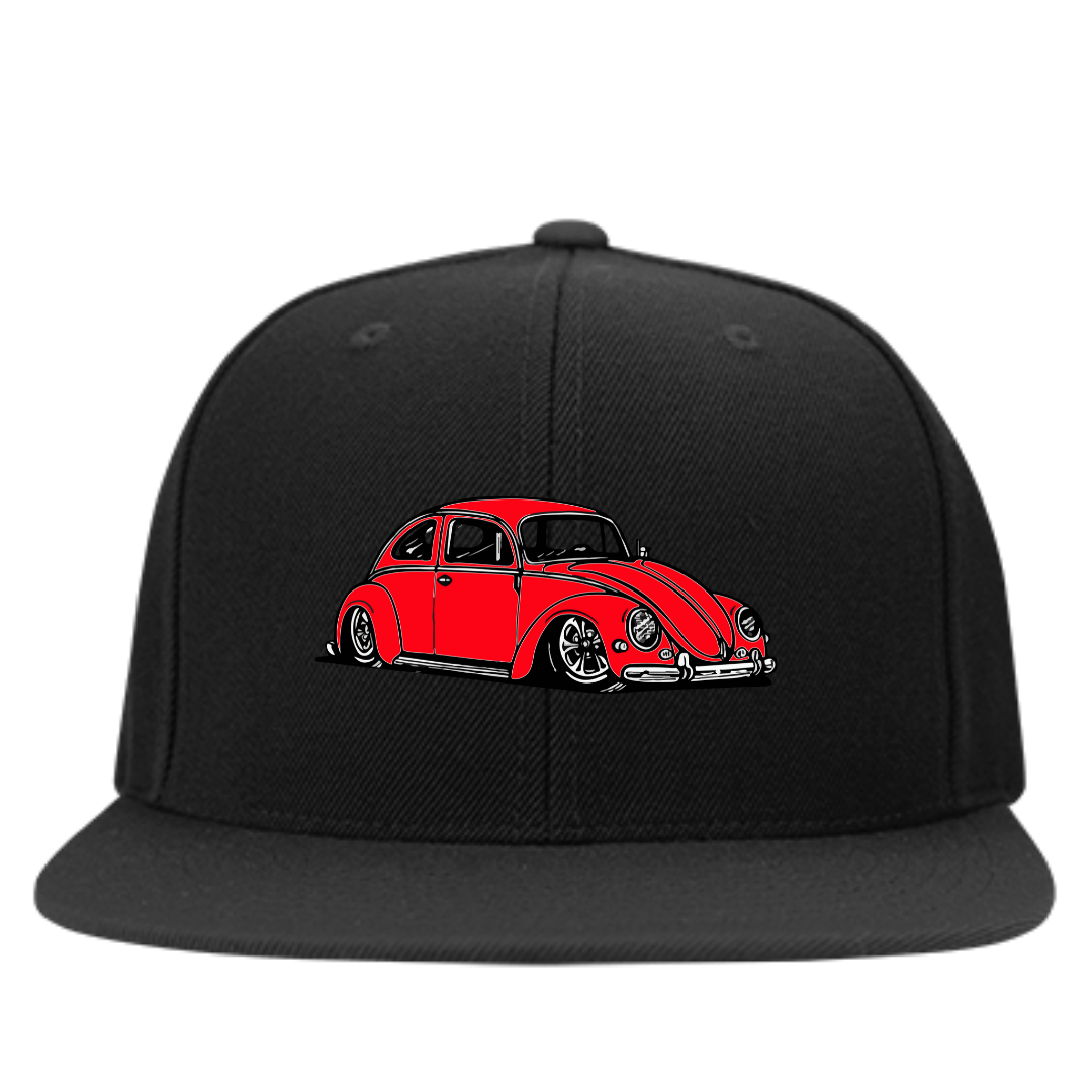 Bug Embroidered Snapback (Red), - Aircooled VW - Vintage Vdub