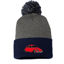 Load image into Gallery viewer, Red Bug Pom Beanie, - Aircooled VW - Vintage Vdub