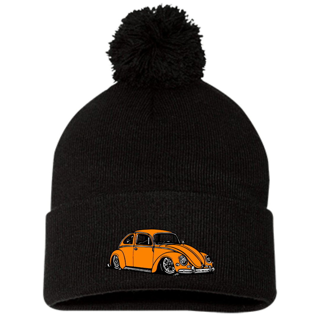 Orange Bug Pom Beanie, - Aircooled VW - Vintage Vdub