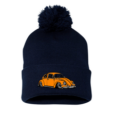 Load image into Gallery viewer, Orange Bug Pom Beanie, - Aircooled VW - Vintage Vdub