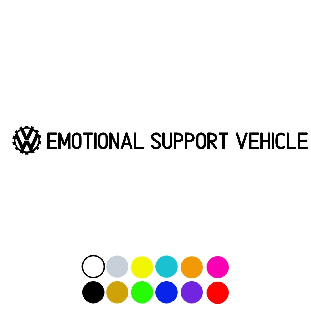 Emotional Support Vehicle Decal, - Aircooled VW - Vintage Vdub