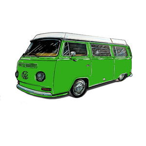 Westy Sticker Green, - Aircooled VW - Vintage Vdub
