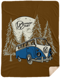 Moonlight Drive 2 Fleece Sherpa Blanket 60 x 80, - Aircooled - Vintage Vdub - Vw