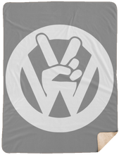 Load image into Gallery viewer, Peace Sign Sherpa Blanket - 60x80, - Aircooled VW - Vintage Vdub