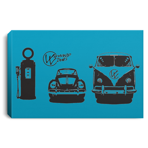 Gas Station Framed Canvas 3 SIZES, - Aircooled - Vintage Vdub - Vw