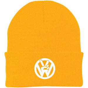 Peace Sign Embroidered Beanie, - Aircooled VW - Vintage Vdub