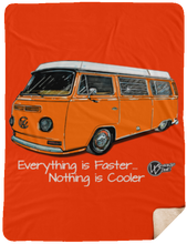 Load image into Gallery viewer, Orange Westy Sherpa Blanket - 60x80, - Aircooled VW - Vintage Vdub
