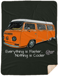 Orange Westy Sherpa Blanket - 60x80, - Aircooled VW - Vintage Vdub