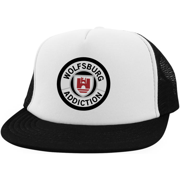 Wolfsburg Addiction Embroidered Trucker, - Aircooled VW - Vintage Vdub