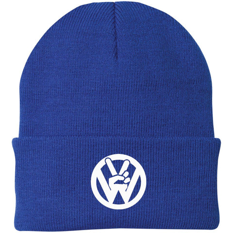 Peace Sign Embroidered Beanie, - Aircooled - Vintage Vdub - Vw