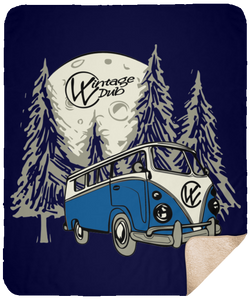 Moonlight Drive 2 Fleece Sherpa Blanket 50 x 60, - Aircooled VW - Vintage Vdub