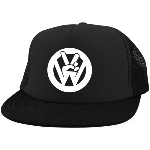 Peace Sign Embroidered Trucker, - Aircooled VW - Vintage Vdub