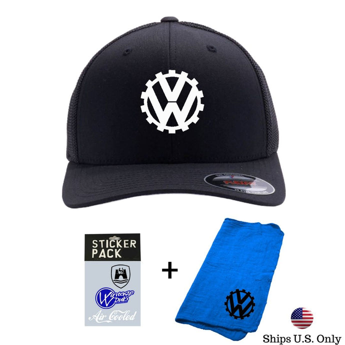 COG Embroidered Flexfit Trucker Pack (Blk/Blk), - Aircooled VW - Vintage Vdub