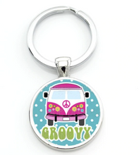 Load image into Gallery viewer, Groovy Bus Keyring, - Aircooled VW - Vintage Vdub