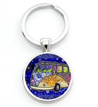 Load image into Gallery viewer, Cosmic Bus Keyring, - Aircooled VW - Vintage Vdub