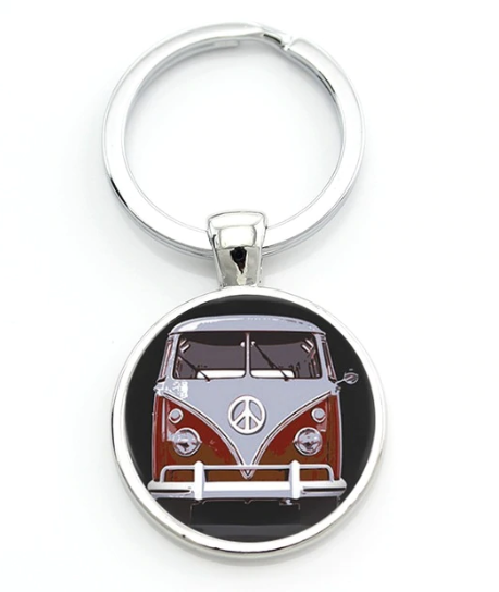 Red Splitty Keyring, - Aircooled VW - Vintage Vdub