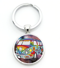 Load image into Gallery viewer, Hippie Bus Keyring, - Aircooled VW - Vintage Vdub