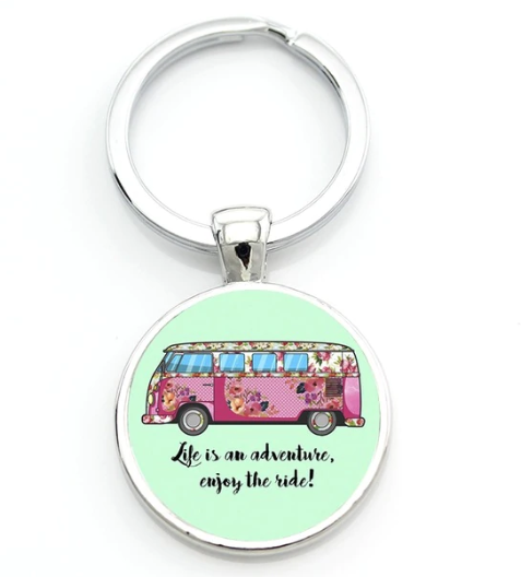 Enjoy The Ride Keyring, - Aircooled VW - Vintage Vdub