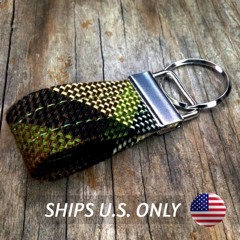 Westy Plaid Key Fob ~Brown Beige / Ships U.S. Only
