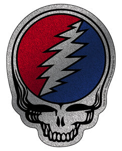 Grateful Dead Steal Your Face Silver Sticker, - Aircooled VW - Vintage Vdub