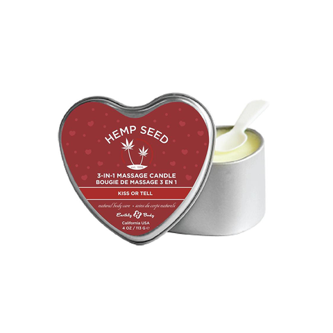 Earthly Body 3 in 1 Heart Massage Candle Hemp Seed Kiss Or Tell Tin Can 4 Ounce
