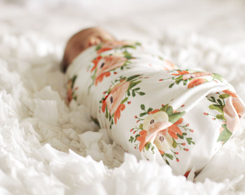 Organic Swaddle | Pink Floral Bouquet