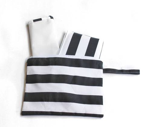 Diaper Clutch | Black and White Stripe