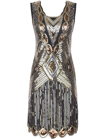 SERINA Sequin 20's Inspired Dress - Gold Silver - Belle Boutique UK