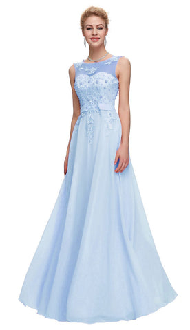 c395f0a722c1 CAITLIN Pale Baby Blue Halterneck Frill Long Bridesmaid Evening Dress UK