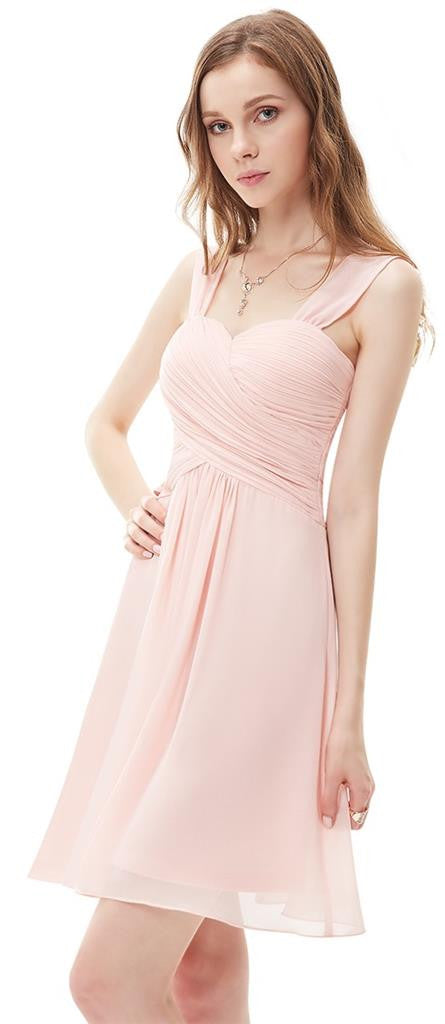 Anna Pale Pink Short Bridesmaid Wedding Occasion Dress Uk