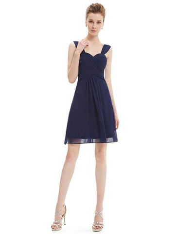 ANNA Short Bridesmaid Dress - Navy Blue - Belle Boutique UK
