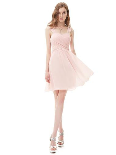 ANNA Short Bridesmaid Dress - Pale Pink - Belle Boutique UK