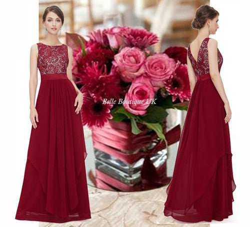 Long burgundy dress uk
