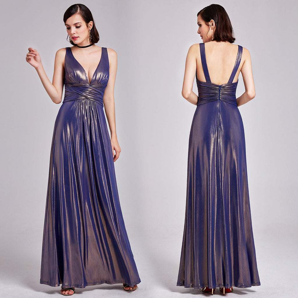 BELINDA Navy Blue Gold Shimmering Long Evening Party Dress UK